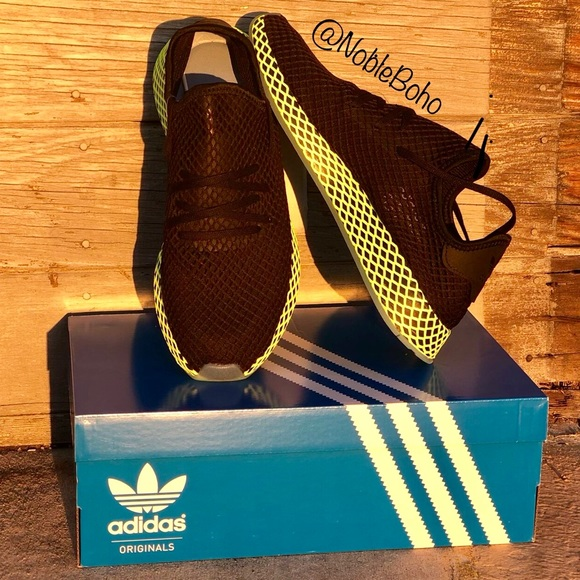 buy online 40082 61e5d Adidas Deerupt Runner - Black Ash Blue Neon Green